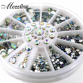 Mix Sizes Crystal AB Glitter Rhinestone 3D Acrylic Nail Art Tips Decoration Wheel Set DIY Nail Accessories