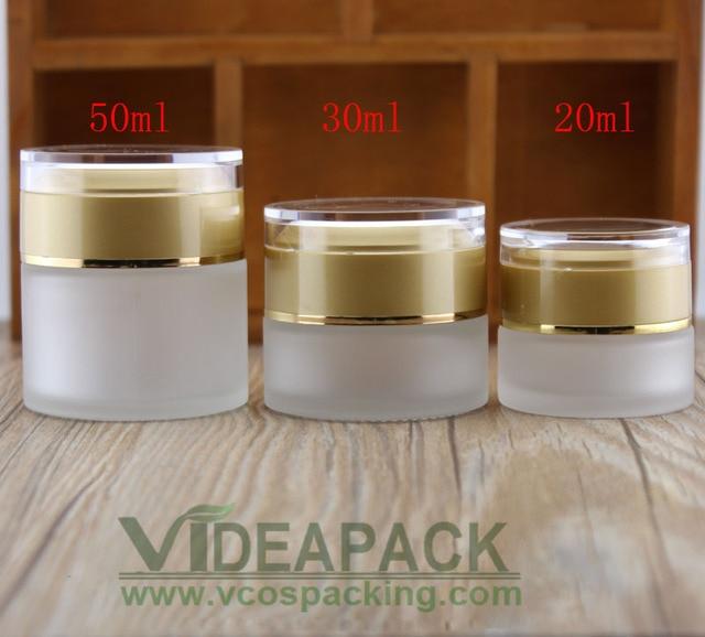 50 Pcs 20G 30G 50G Crème Frosted Glazen Pot Lege Flessen Container Cosmetische Plastic Schroefdop