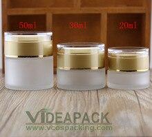 50 stücke 20 g 30 g 50g Creme milchglas jar leere flaschen behälter kosmetische kunststoff schraube kappe