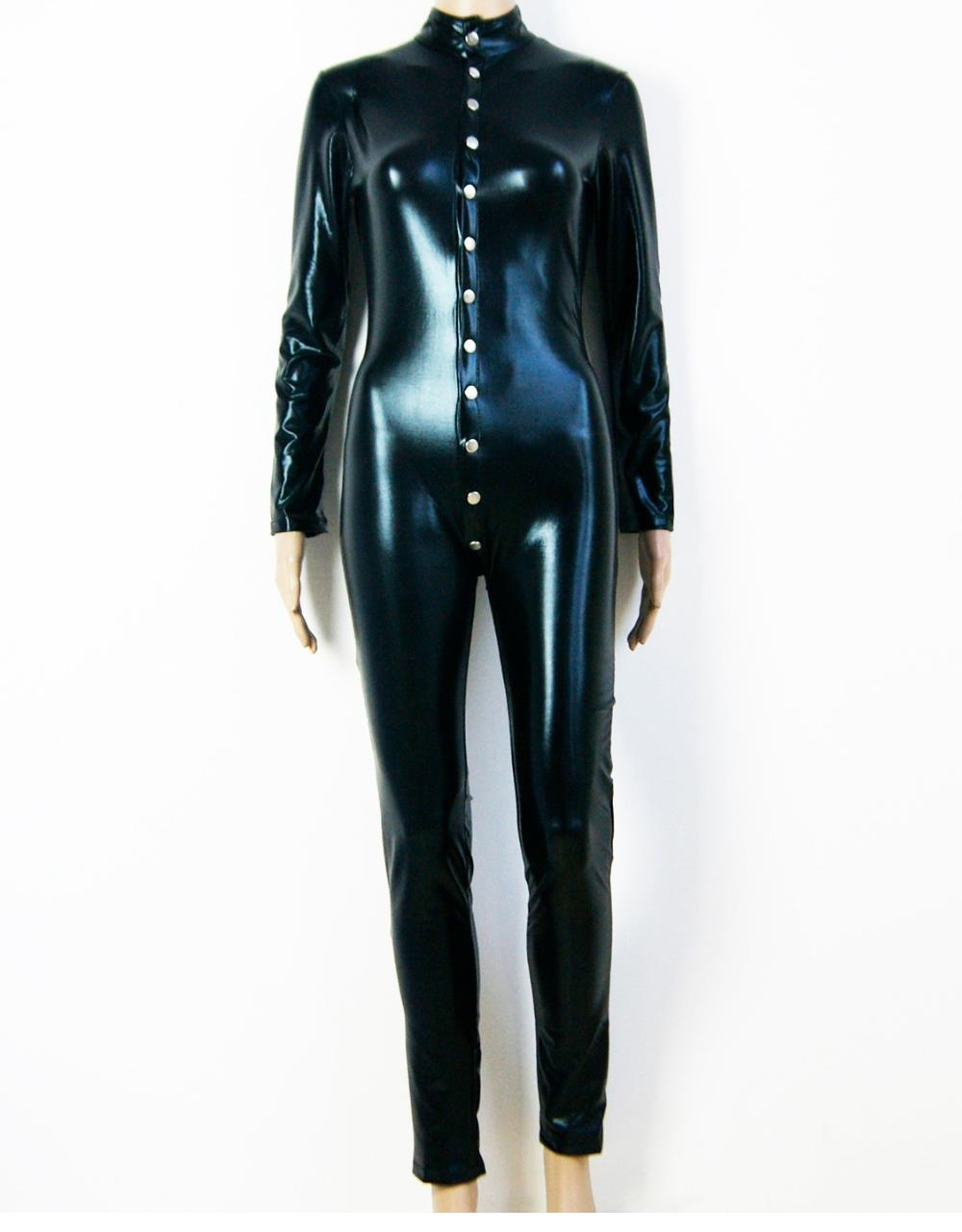 High Quality Sexy Wetlook Catsuit Clubwear For 2016 New Black Faux Leather Punk Front Ladies Bodysuit Jumpsuit W2083420