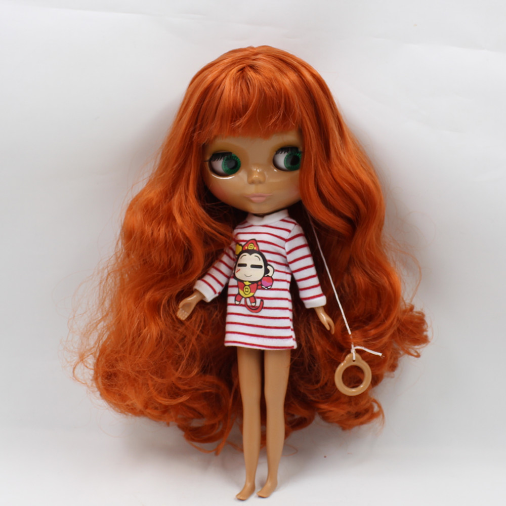 280BL1207 brown curly long hair with bangs orange hair normal body nude doll suitable for change DIY purple curly long hair with bangs normal body nude doll suitable for change diy 280bl732 117