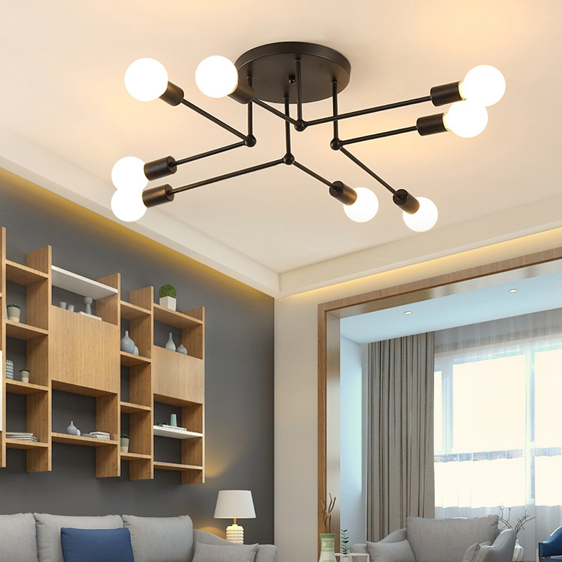 Creative Minimalist 6/8 Heads E27 Ceiling Lamp Retro Industrial Wind art Pipe Wrought Iron Ceiling Light for Home RestaurantCreative Minimalist 6/8 Heads E27 Ceiling Lamp Retro Industrial Wind art Pipe Wrought Iron Ceiling Light for Home Restaurant