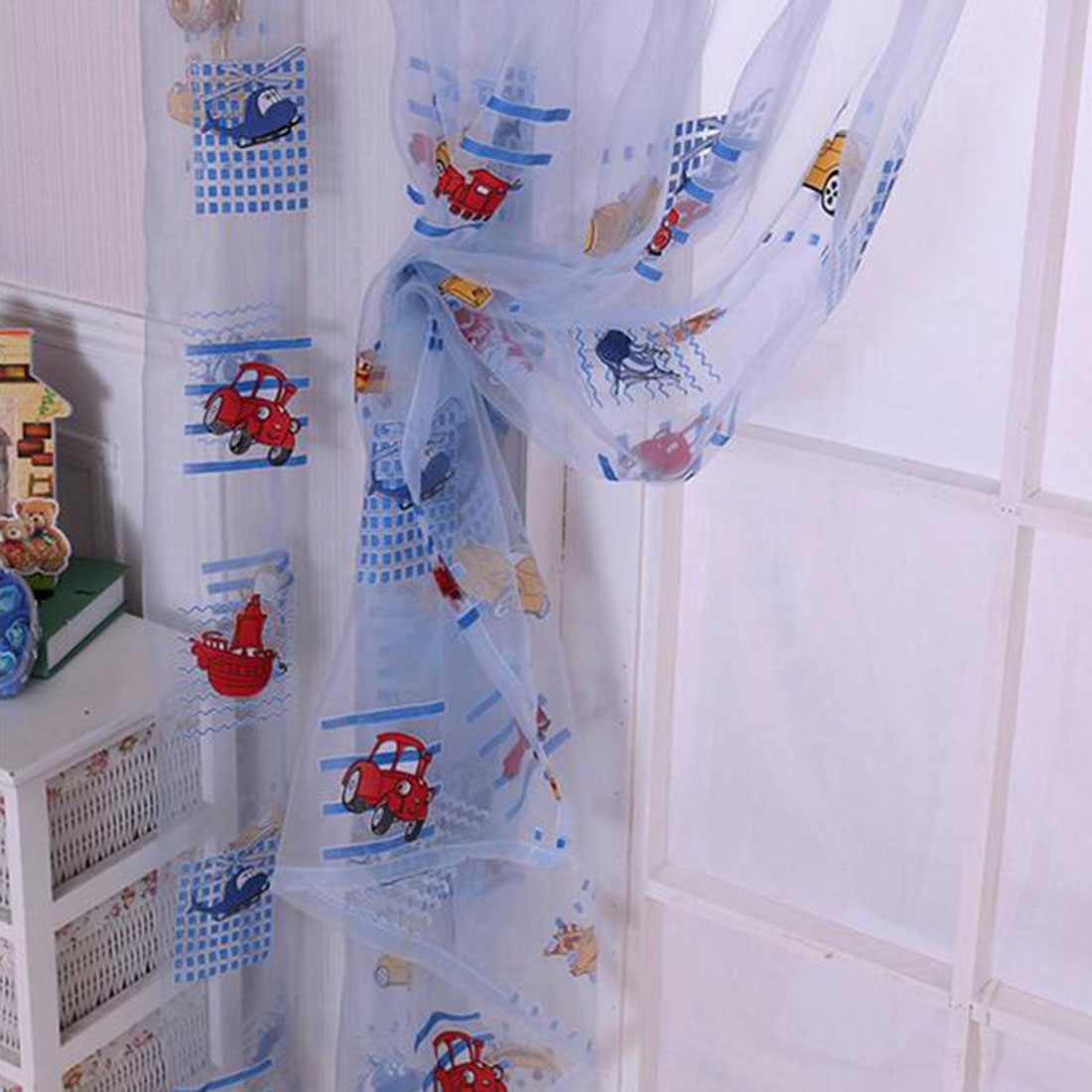 Car interior curtains - Kids Car Pattern Voile Panel Sheer Door Room Drape Window Curtains Factory Directly Sale Cute Lovely