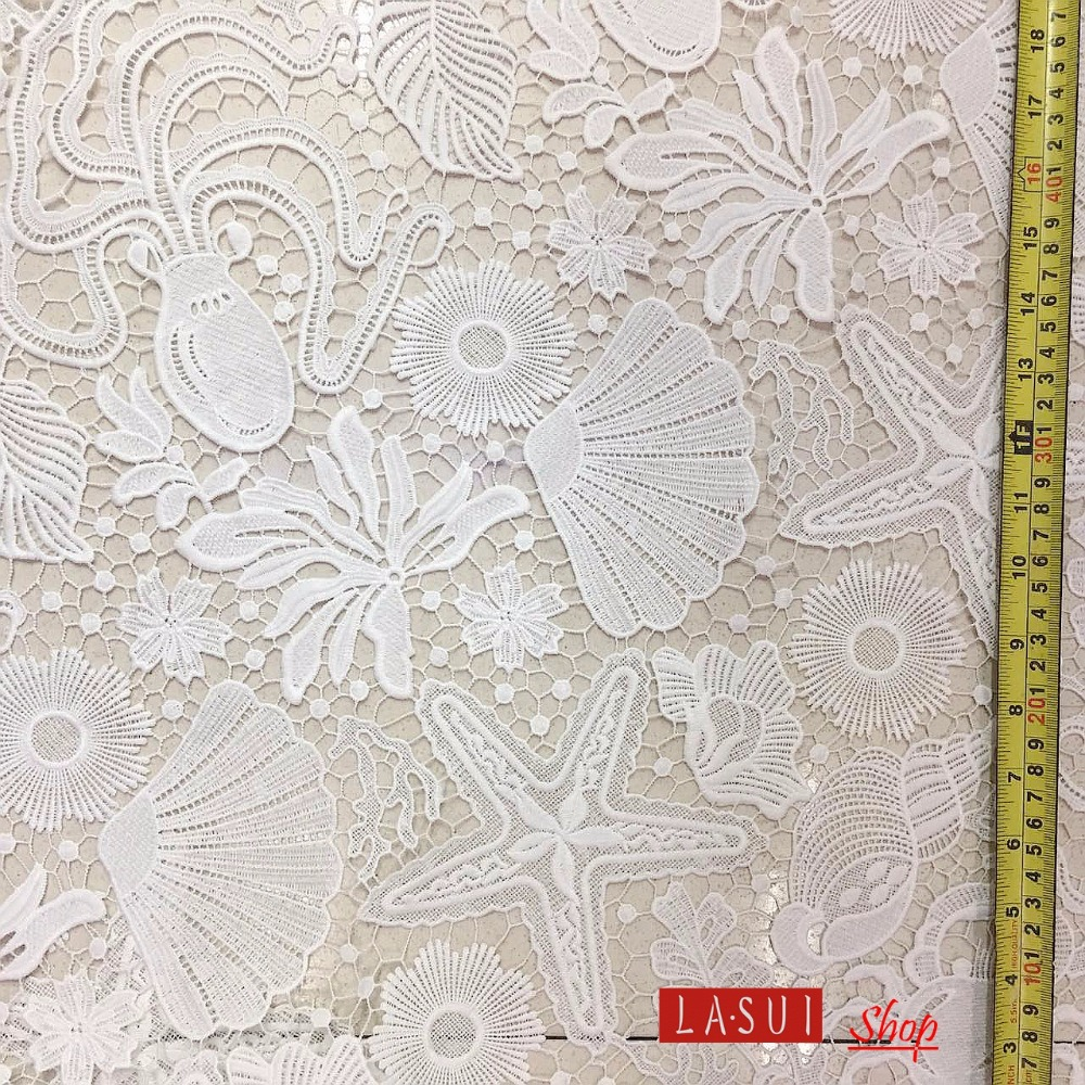 LASUI 3Y = LOT โรแมนติก Ocean World ประณีตฝีมือสีขาวผ้าไหม sea star seaweed เปลือกน้ำ solubl ผ้า s0028-ใน ผ้า จาก บ้านและสวน บน   1