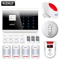 KERUI 433 мГц Беспроводной PSTN GSM домашняя дом офис охранной сигнализации безопасности с пожарный детектор природного газа