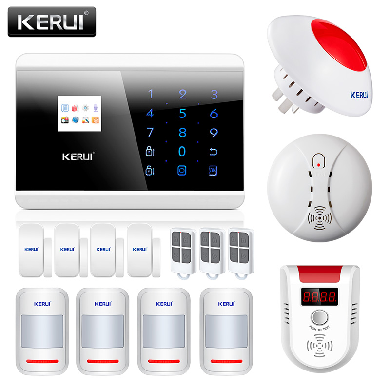 KERUI 433Mhz Wireless PSTN GSM Home House Office Burglar Alarm Systems Security With Fire Smoke Natural Gas Detector 433mhz wireless gas detector sensitive combustible co gas detector fire alarm sensor for wireless gsm pstn home security
