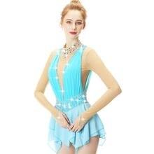 Платье для катания на коньках с голубыми кружевными цветами