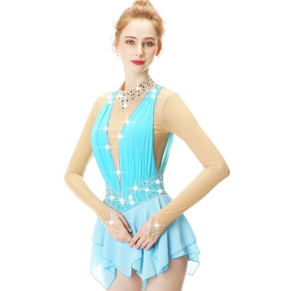 Blue Lace Flower Decoration Crystal Diamond Figure Skating Dress For Girls And Women