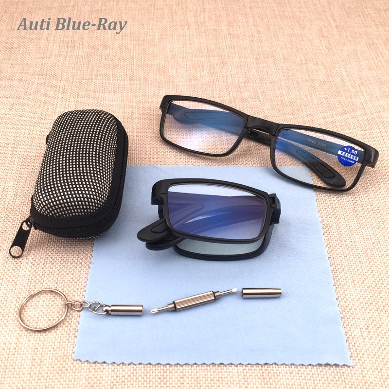 Anti Blue Ray Folding Reading Glasses Men Women Foldable Glasses Diopter Optical Computer Glasses Vintage Eyeglasses Goggles