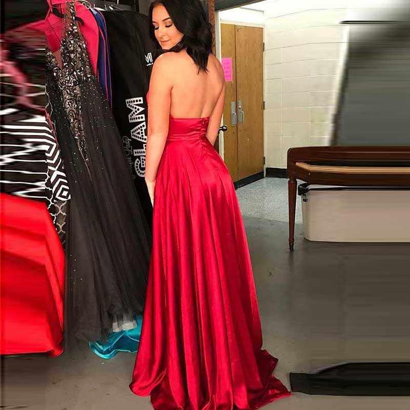 Сексуальный халат De Soiree вечернее платье с бретелькой на шее Vestidos Сатиновые А-образные Боковые Сплит вечерние платья Vestido Para Festa Longo