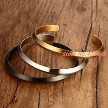 New Top Quality Brand Design Stainless Steel Round Bracelets Silver/Gold/Black  Womens Jewelry Cuff Bangle 6mm Bracelet