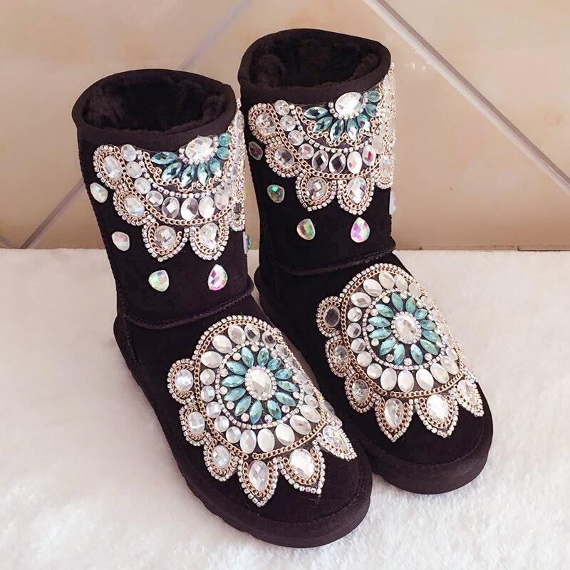 Espesar Mano Flores Gamuza En Nieve Invierno Zapatos Botas Mujeres As Tobillo Picture Slip as Cristal Las Mujer Cadenas 2 De Para Moda A Hecho 1 nAOWEczxxp