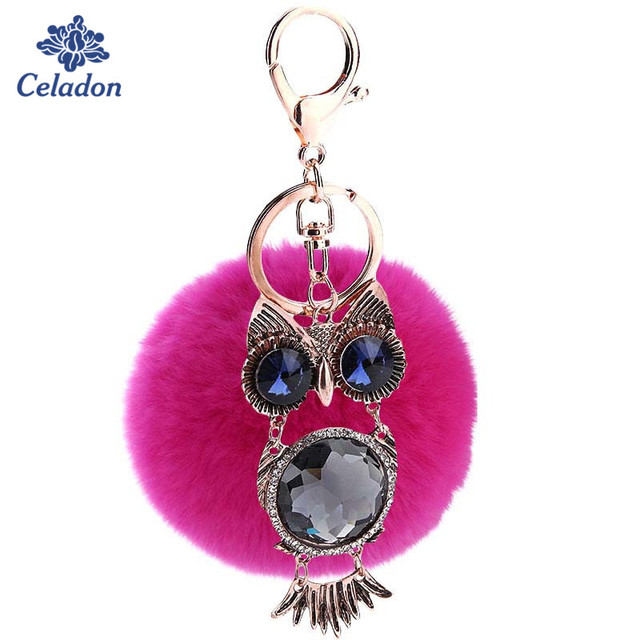 Hang Bag Lovely Ball Keychain The Owl Car Accessories Colorful Fashion Lady  Metal Key Chain Creative For Women Key Decoration ecbee20ff