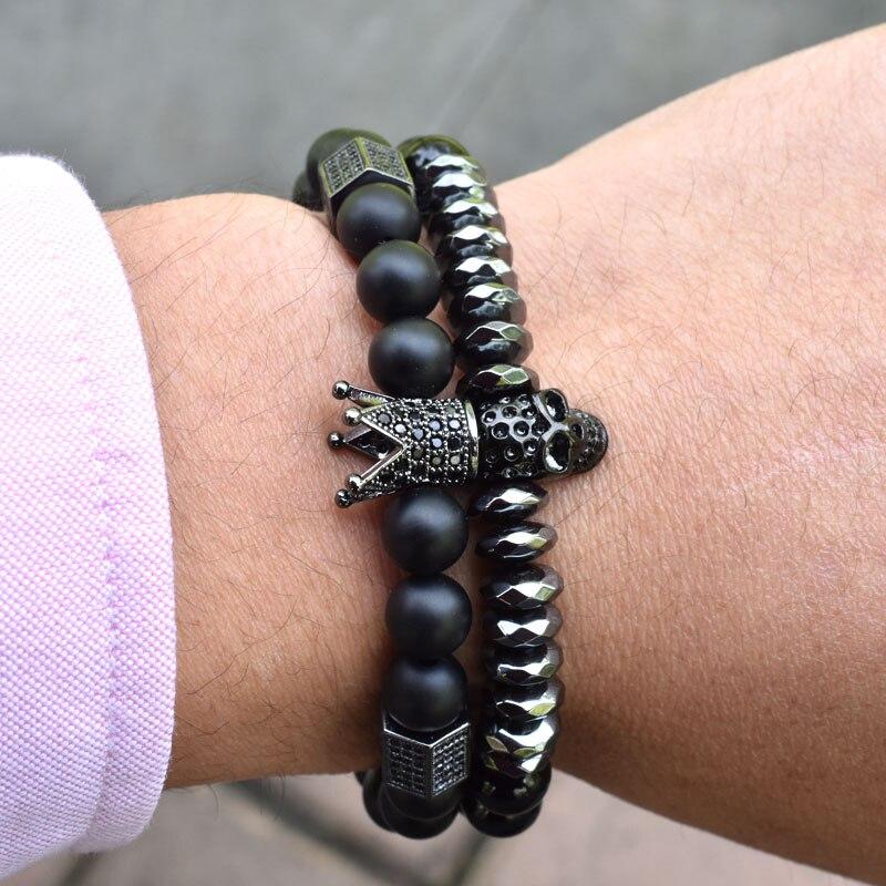 Nine forever Skull Skeleton Titanium Steel bracelets natural stone beads crown bracelet men jewelry pulseira masculina bileklik