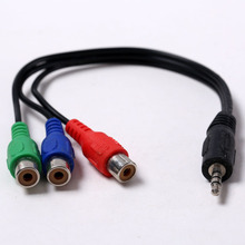 3.5mm To 3RCA Mother Video Audio Transfer Line AV Cable For Dvd, Mobile Phones, Cameras, L