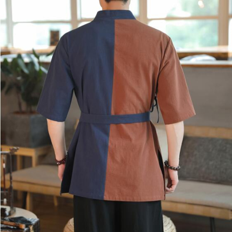 0564 Summer Spliced Color Cotton Linen Shirt Men With Belt Short Sleeve Kimono Shirt Men Embroidery Streetwear Vintage Casual in Casual Shirts from Men 39 s Clothing