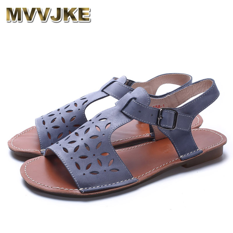 MVVJKE  Woman Shoes Gladiator Women Sandals Genuine Leather Ladies Flat Sandals Summer Shoes Female Footwear phyanic 2017 gladiator sandals gold silver shoes woman summer platform wedges glitters creepers casual women shoes phy3323