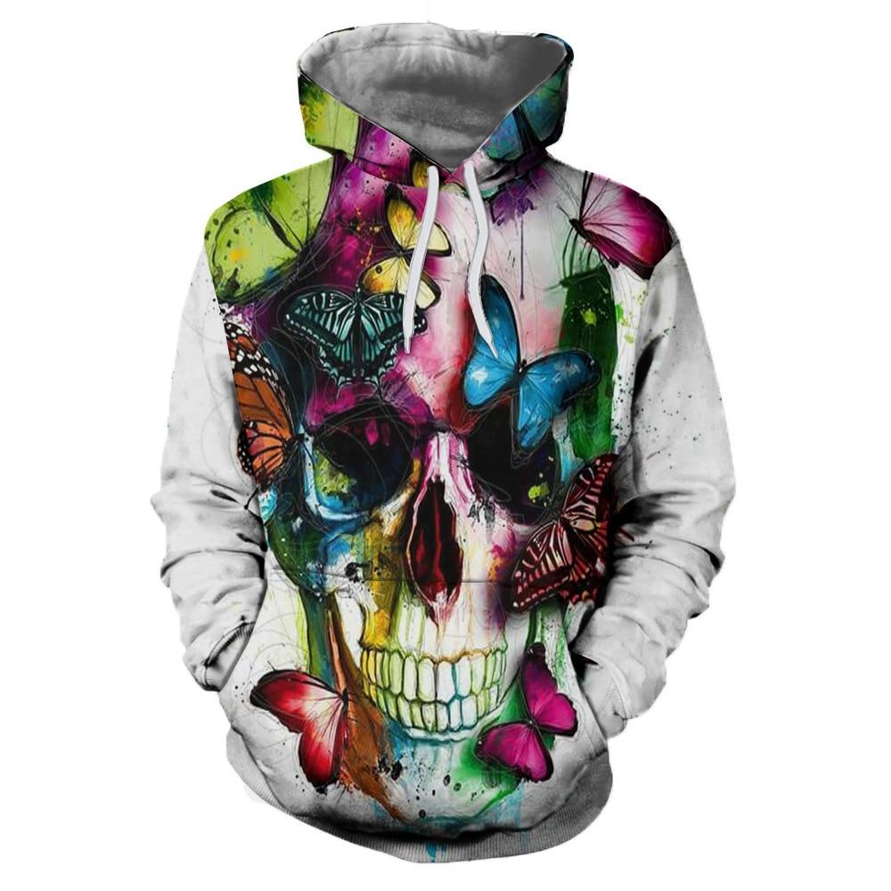 Fashion Men/women's 3D Hoodie Funny Skull Paint Printed Hoodies Sweatshirts Male Casual Pullovers Hoodie Slim Fit Hoody