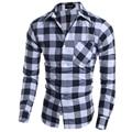 2016 Mens Business Shirts Casual Slim Long Sleeve Dresse Shirts Camisa Masculina Shirts Asian Cotton printed plaid grey 66922
