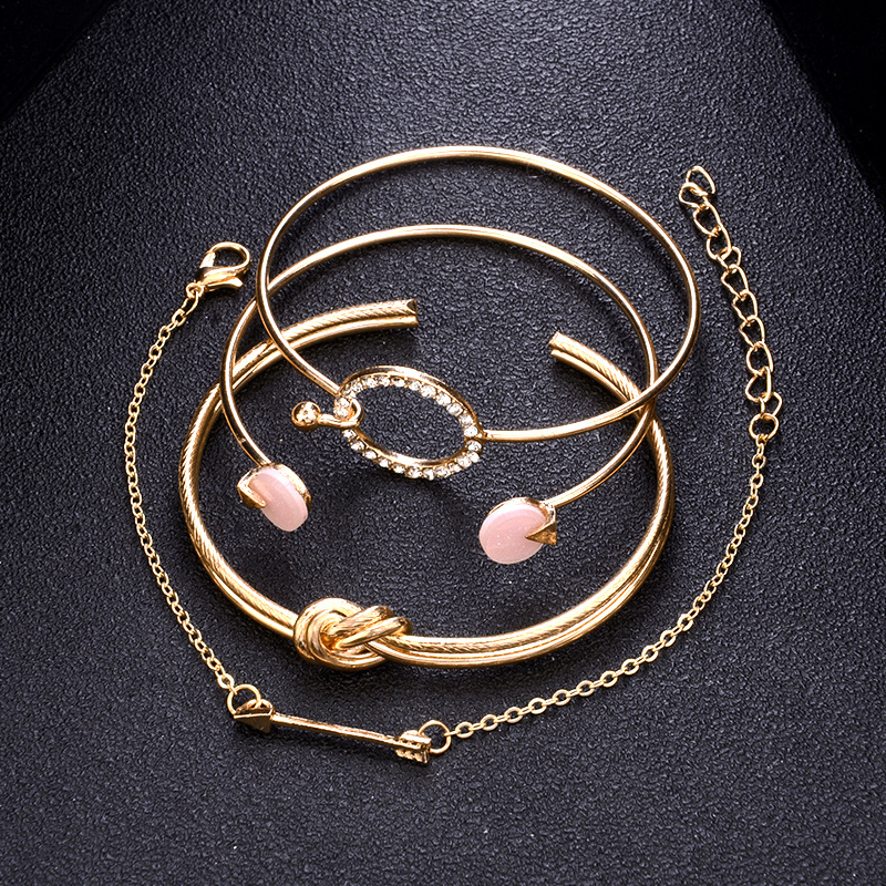 4 Pcs/Set Bracelet, Adjustable Bracelet for Women, Bracelet for Women, Crystal Bracelet for Women, Multilayer Adjustable Bracelet for Women, Multilayer Bracelet for Women