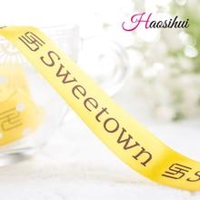 HAOSIHUI Free design 1/4''(6mm) custom printed ribbon gift packaging polyester Satin tape LOGO Personalized 100 yard /lot