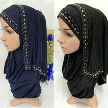 Модные стразы, Женский мусульманский шарф, хиджаб, исламский шарф, арабские шали, головной убор