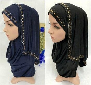 Moda de diamantes de imitación mujer señora musulmana envolver estilo Hijab islámico bufanda árabe chales Headwear