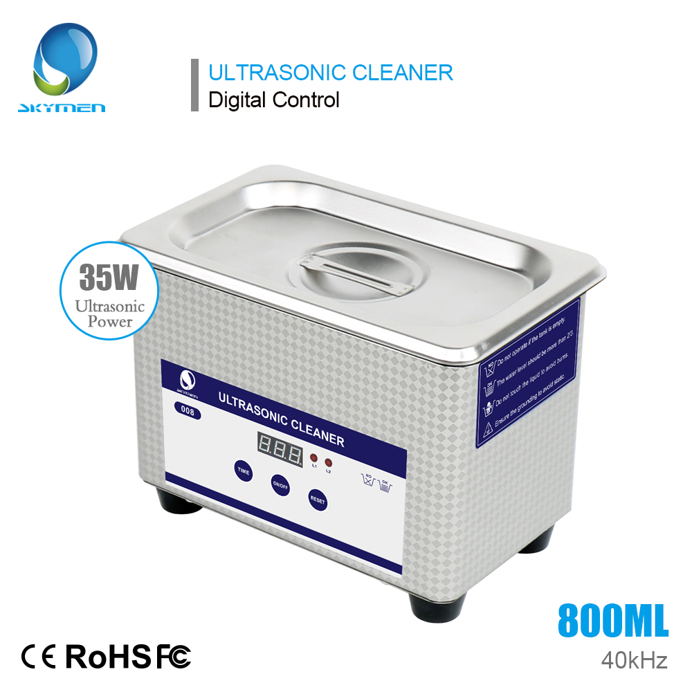 SKYMEN Digital Mini Ultrasonic Cleaner Metal Basket Washing Jewelry Watches Dental PCB CD 800ml 35W 40kHz Cleaner Bath Necklaces ultrasonic bath cleaner 0 75l tank baskets jewelry watches injector ring dental pcb 35w 42khz digital mini ultrasonic cleaner