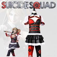 The Arkham Asylum for the Criminally Insane  Suicide Squad Harley Quinn cosplay costume PU dress uniform Customize Any sizes Ful