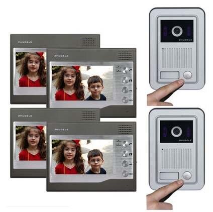 ZHUDELE Home Security Villa Intercom System For 2 Doors Kits 4X7Video Door Phone Monitors+2X HD IR Camera with Waterproof Cover