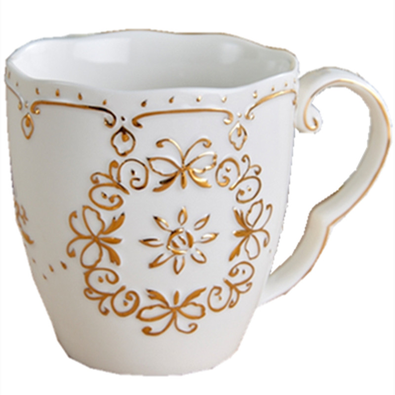 Us 24 52 9 Off Gold Japanese Style Young Girl Lace Butterfly Coffee Cup Mug Tea Cup White Embossed Decorative Pattern In Mugs From Home Garden On