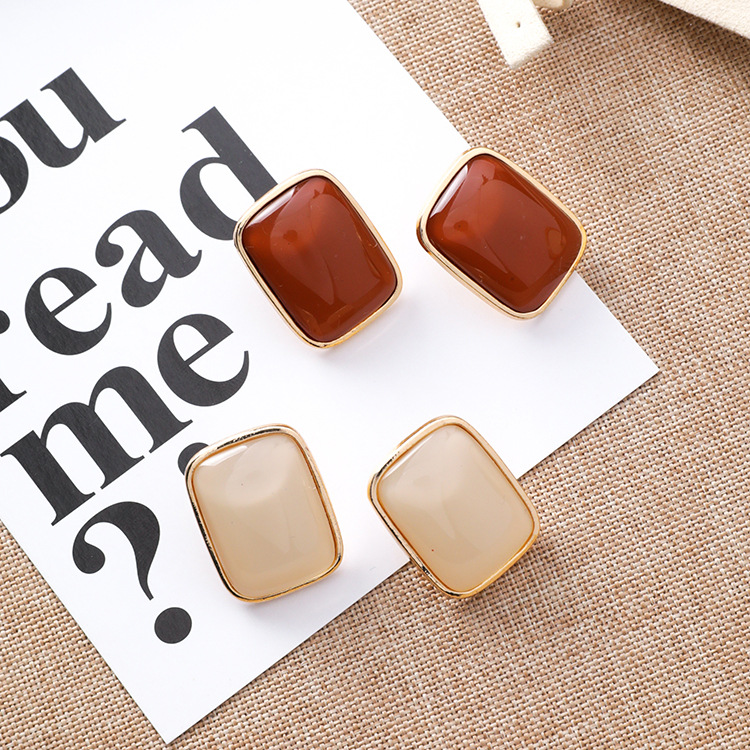 12pairs/lot Korean fashion retro geometric  metal  exaggerate personality fashion temperament simple Square Earrings