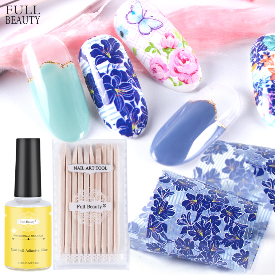 10pcs Holograph Nail Foils Kit Set Flowers Transfer Stickers Full Wraps Quick Art Film Nail Design Manicure Decal CH787-2