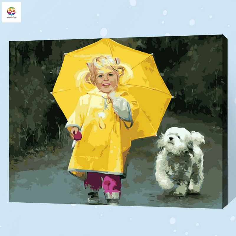 Pintura Digital sin marco por número Luna pequeña chica perro paraguas pintura acrílica pared arte lienzo pintura hogar Deco oferta