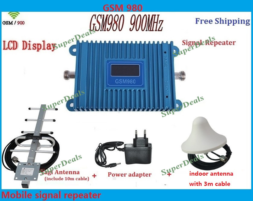 LCD display!!!GSM980 full set! GSM 900mhz mobile phone SIGNABL BOOSTER repeater, cell phone signal amplifier with antenna cableLCD display!!!GSM980 full set! GSM 900mhz mobile phone SIGNABL BOOSTER repeater, cell phone signal amplifier with antenna cable