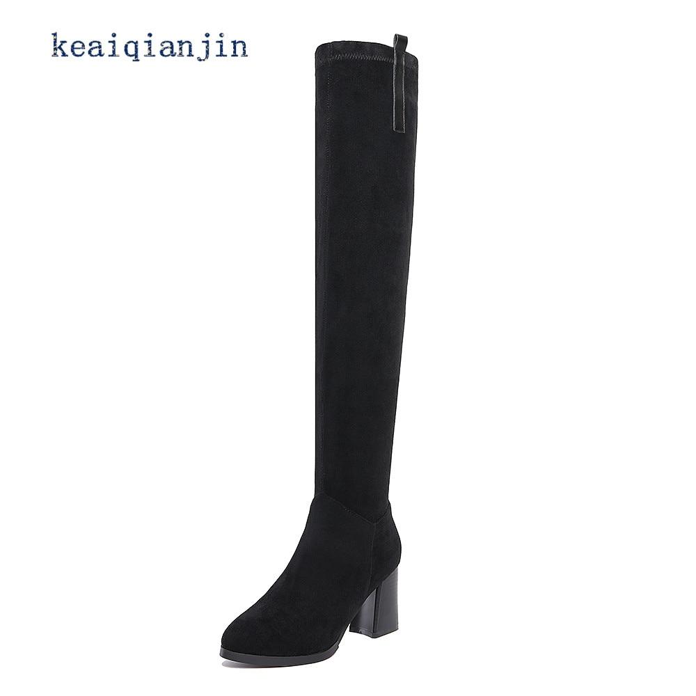 ФОТО Nubuck Leather Knee Boots 2017 Winter Black Yellow High Quality Genuine Leather High Boots Buckle High Heel Warm Over-the-Knee