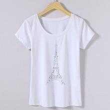 Европа Летняя женская уличная мода тонкая футболка с круглым вырезом и принтом башни Топы женские повседневные рубашки со стразами ручной работы