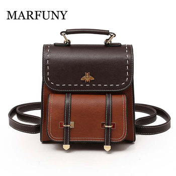 Vintage Pu Leather Women Backpack Simple Preppy Style Backpack Women Famous College Backpack Women mochilas