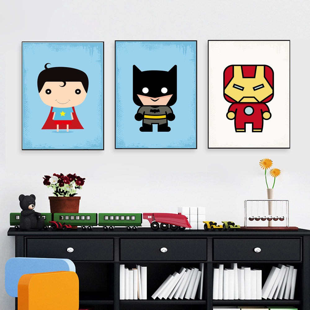 Super Hero Bat Man Super Man Wall Art Paint Wall Decor Canvas Prints Canvas Art Poster Oil Paintings For Children Room No Frame in Painting Calligraphy from Home Garden