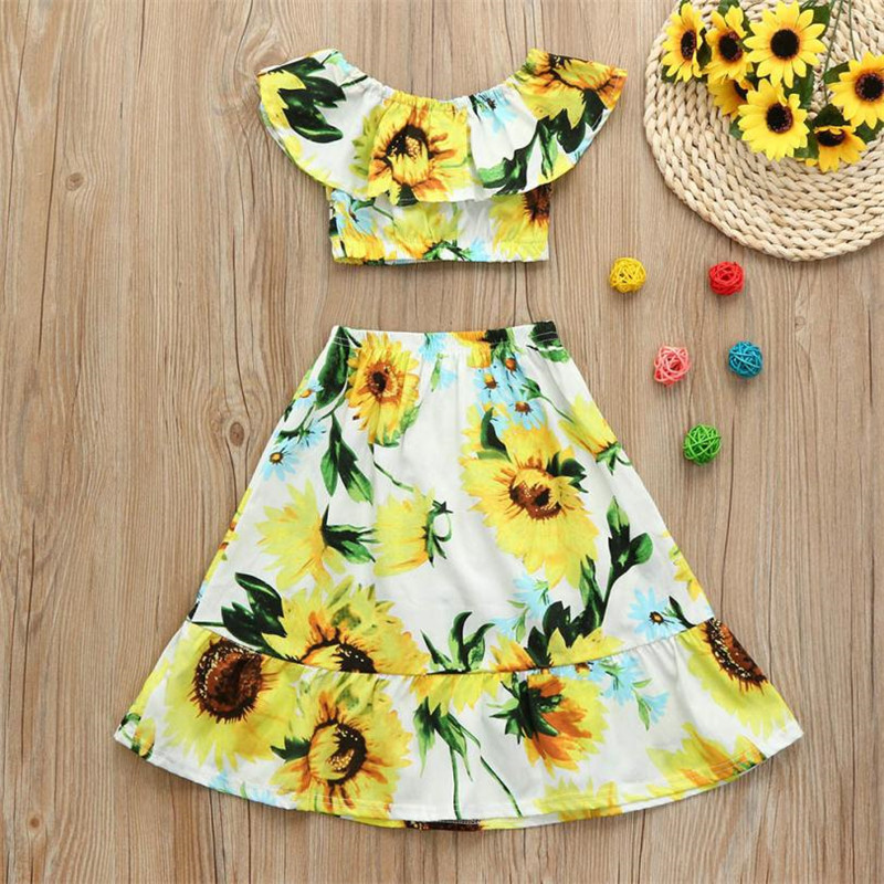 2bc01e8252e8 2Pcs Kids Baby Girls Ruffles Off Shoulder Sunflower Print Tops Skirt Outfits  Set 2018 New Summer Dress for Girls Vestidos-in Clothing Sets from Mother  ...