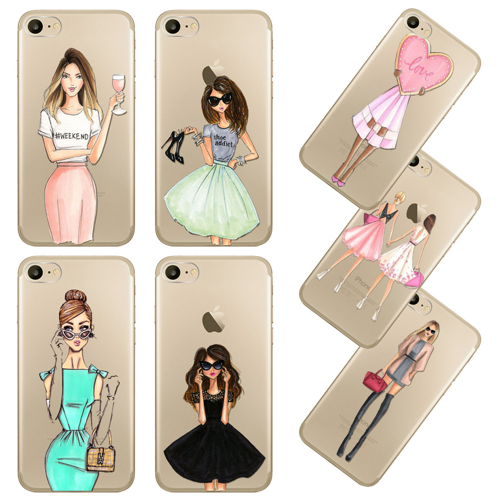 fashion mobile phone case for iphone 7 plus 7plus 5 5inch modernfashion mobile phone case for iphone 7 plus 7plus 5 5inch modern dress shopping girl transparent soft silicon cover coque fundas