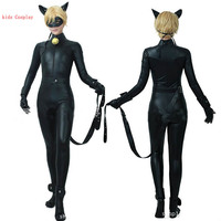 Lady Bug Costumes 2018 New Arrival Miraculous Ladybug Cat Noir With Mask Black Jumpsuits Cosplay Halloween