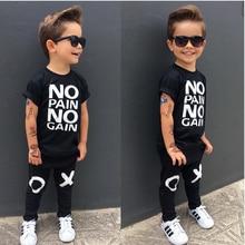 Children Clothing Black Set Boy Cotton Letter Printed Short Sleeve T-Shirt+ Long Pants Boys Cotton Tee Tops Summer Sport Suits