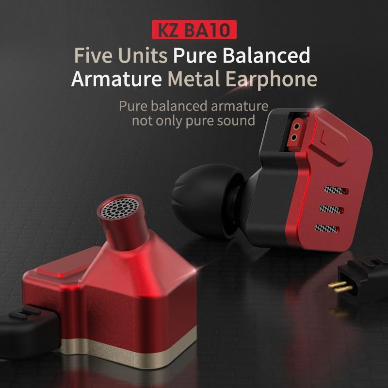 KZ BA10 Headset Balanced Armature Driver 5BA HIFI Bass Earbuds In Ear Monitor Earphone Sport Headset