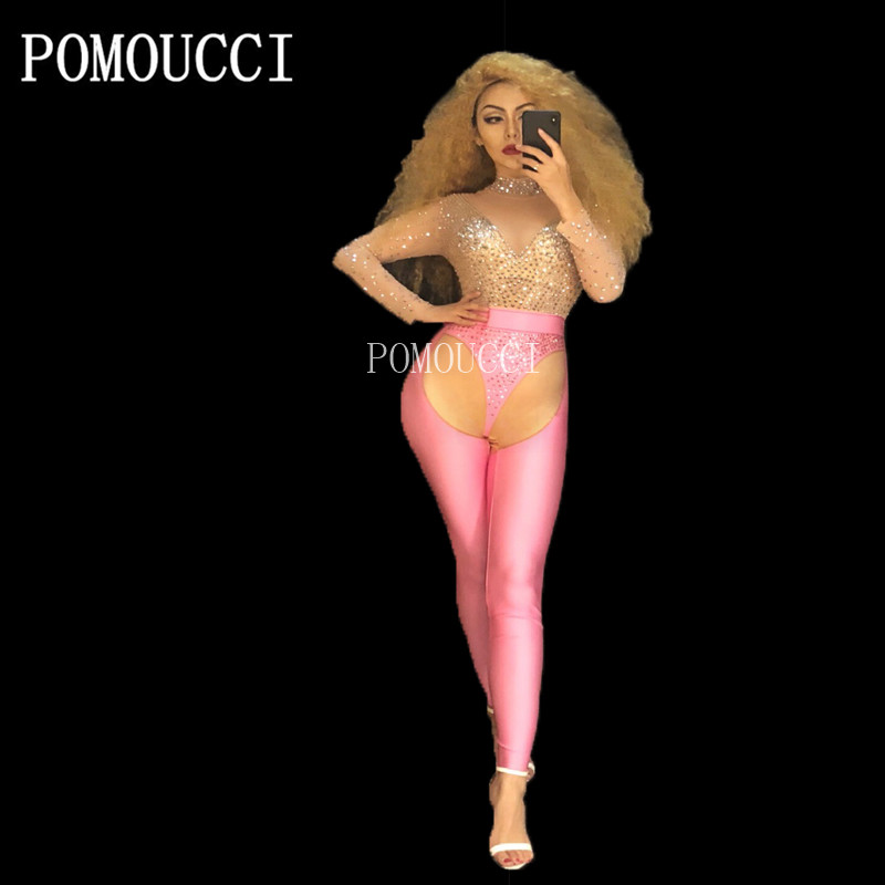 Women Net Spandex Sexy Sparkling Rhinestone Pink Jumpsuit Party Dancer Performance Rompers Wear Bling Costumes Dance Outfit