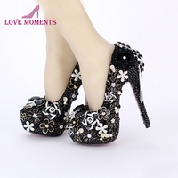 Womens High Heel Shoes Black Pearl Wedding Bridal Dress Shoes Round Toe Banquet Party Rhinestone Pumps 5 Inches Stiletto Heels