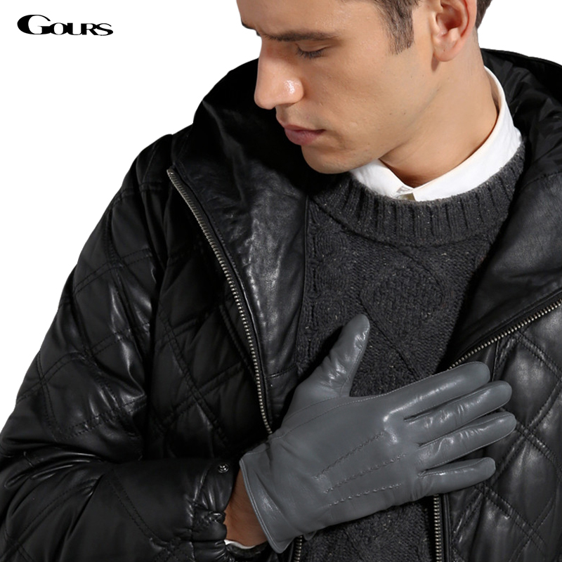 Gours Winter Genuine Leather Gloves Men New Brand Black Fashion Warm Driving Gloves Goatskin Mittens Guantes Luvas GSM015-in Men's Gloves from Apparel Accessories