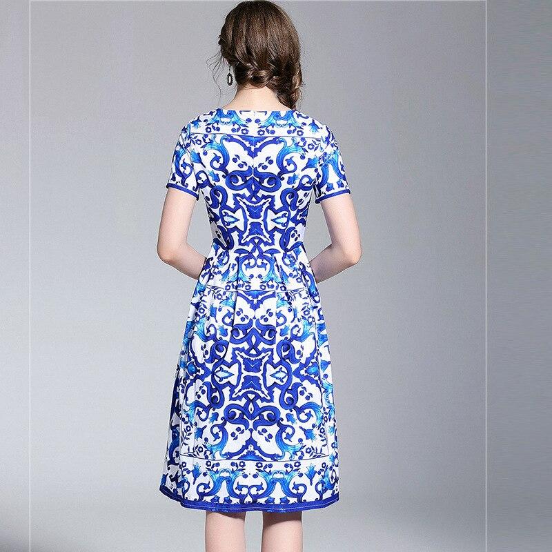 2018 New Arrival krótki rękaw niebieski i biały nadruk porcelany lato sukienka kobiety wysokiej jakości Runway eleganckie sukienki w Suknie od Odzież damska na  Grupa 3