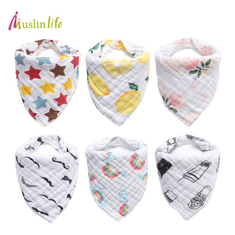 цена на Cotton Baby Bandana Bibs Feeding Baby Apron Soft Baby Bibs for Girls Boys Cartoon Triangle Feeding Burp Cloth Bebe Collar Scarf