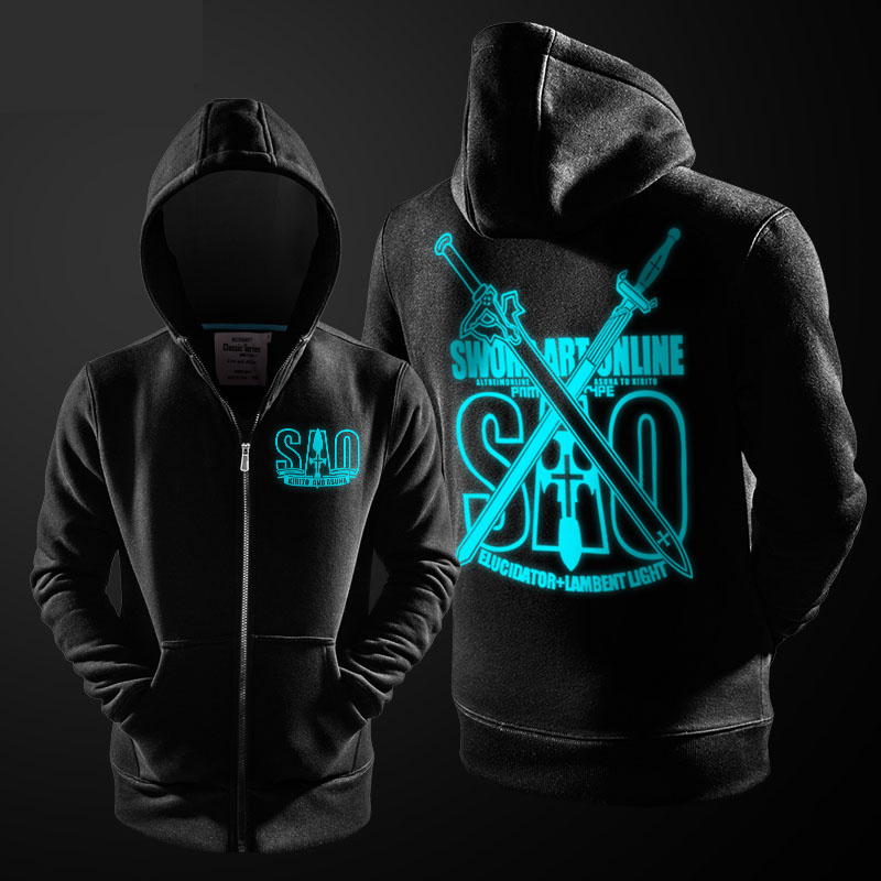 Sword Art Online Themed Hoodie Boys Zipper Coat SAO Students Anime Sweatshirts Couples  Black XXL